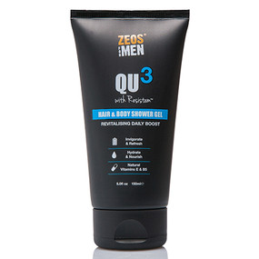 ZEOS QU3 Hair & Body Shower Gel 150ml - Front