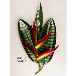 """This prized tropical flower, Bird of Paradise, is treasured in the tropics and here, rendered in copper, it glows with the warmth of the southern sun. Medium size 18""""x 28""""x 4"""". Materials : Copper and Steel."""