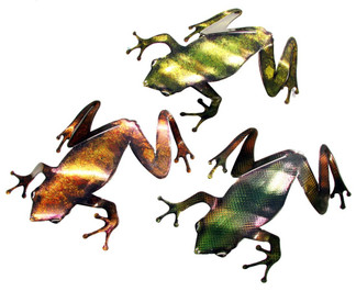 Metal Wall Frogs Set of 3