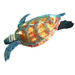 Sea Turtle Swimming 3D - Metal Wall Sculpture