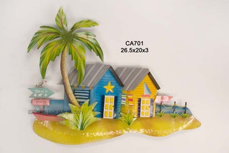 Metal Beach Bungalows Wall Art