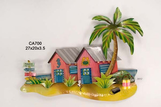 Tropical Beach Bungalows Metal Wall Art