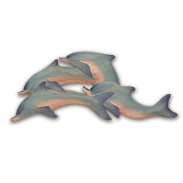 Wood Dolphins Wall Art