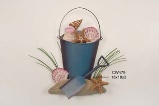 Beach Bucket of Shells - Metal Wall Art