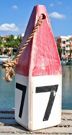 "Buoy - Wooden 4x4x12""H - Red/White #7"