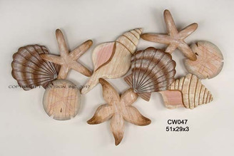 Wooden Hand Carved Shell Cluster - Wall