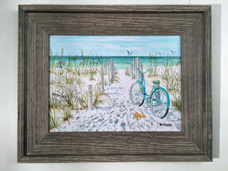 "Bicycle on the Beach Painting 21.5"" x 16.5"""