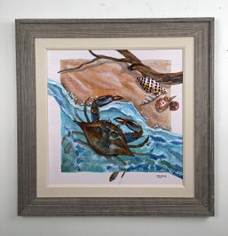 "Crab Painting by Lisa Sparling 34"" x 34"""