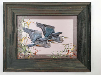 "Flying Heron Painting 21.5"" x 16.5"""