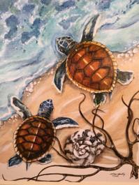 "Sea Turtles Framed Painting 34"" x 34"""