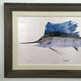 "Sailfish Framed Wall Painting 50"" x 30"""