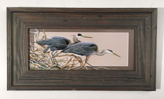 "Stalking Heron Horizontal Painting 22.5"" x 12.5"""