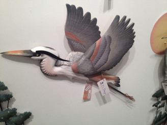 Great Blue Heron Flying Wall Sculpture