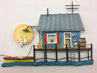 Tropical Fishing Shack - Metal Wall Art