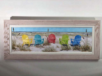 Framed Beach Chairs Large Wall Painting 41x17""