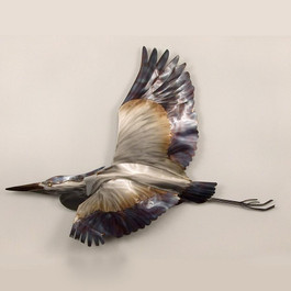 Flying Heron Copper Art - Metal Wall Art