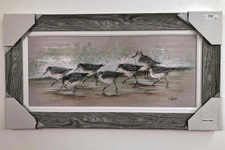 "Sanderlings on Beach Wall Painting 44"" x 23"""