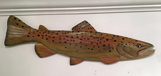 Brown Trout Wall Wood Carving