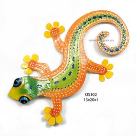 Gecko Orange Metal Wall Art