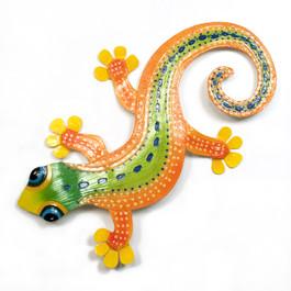 Gecko Orange Metal Wall Art