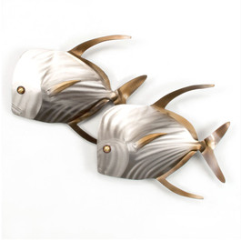 Lookdown Fish Pair Metal Wall Art, LookingLeft