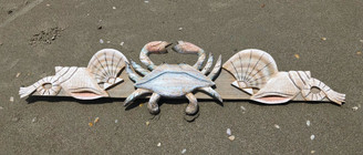 Crab and Shell Swag - Hand Carved Wood