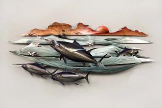 Tuna on Flying Fish Copper Wall Art
