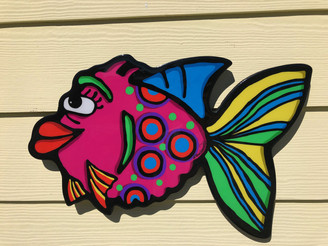 """Callie"" Pink Fish Wall Art"
