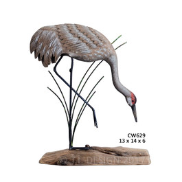 Sandhill Crane Dipping Carved Wood