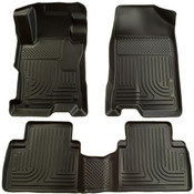12-13 HONDA CIVIC FRONT & 2ND SEAT CUSTOM MOLDED WEATHERBEATER FLOOR LINERS BLACK