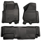 11-12 F250/F350/F450 FORD HD SUPER DUTY EXT CAB W/O MANUAL TRANSFER CASE FRONT/2ND SEAT LINERS BLACK