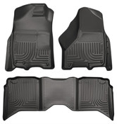 09-17 RAM 1500/2500/3500 CREW CAB WEATHERBEATER FRONT & 2ND SEAT FLOOR LINERS W/1 OR 2 HOOKS BLACK