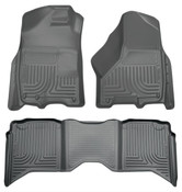 09-15 RAM 1500/2500/3500 CREW CAB WEATHERBEATER FRONT & 2ND SEAT FLOOR LINERS W/1 OR 2 HOOKS GREY