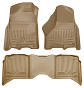 09-15 RAM 1500/2500/3500 CREW CAB WEATHERBEATER FRONT & 2ND SEAT FLOOR LINERS W/1 OR 2 HOOKS TAN