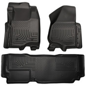 12-16 F250/F350/F450 SUPER DUTY SUPER CAB(W/O MAN TRANSFER) FRONT/2ND SEAT FLOOR LINERS BLACK