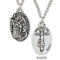 "This pewter necklace illustrates St. Michael the Archangel, a champion of God's people, victorious in battle against Satan in the form of a serpent. The back includes the inscription, ""Protect us"". Cast in 100% lead-free pewter. Comes on an adjustable 24 inch stainless steel curb chain with lobster claw clasp. 1""H x 3/4""W. Made in the U.S.A"