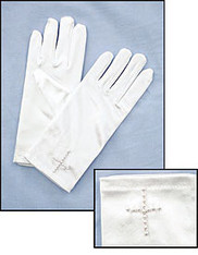 Girls White Communion Gloves