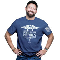 HOLD FAST™ Adult T-Shirt - Heroes™  Color: Royal Heather Design on front; flag design on left sleeve Standard fit; fashion collar 100% preshrunk cotton, 5.4 oz. premium fabric Shoulder-to-shoulder taping Double-needle stitching at sleeve and bottom hem High quality printed Christian t-shirt