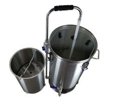 Easy to use, and easy to clean Grain Basket for removing grain after the mash so the boil can begin.