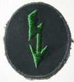"WW2 German Army Panzer-grenadiers signals sleeve ""Blitz"" Patch. A lightening bolt embroidered in light green rayon thread on a dark blue green cotton mesh material. Late war variation."