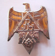 1937 German Hitler Youth 'DJH' Event Badge 'Tinnie', With Pin Back. Founded in 1909, the German Youth Hostel Association (German: Deutsches Jugendherbergswerk) or DJH is a not-for-profit, registered association (eingetragener Verein). Through the state (Bundesland) associations it is the representative of the 536 youth hostels in Germany (as at 2013) and thus the largest member of the international youth association, Hostelling International (HI). The DJH was merged into the Hitler Youth in 1933 until the end of the Second World War.