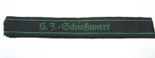 "This short (5"" long) cuff title, H. J. = Schiesswart, (Marksmanship Warden) is machine woven in green on a black band."