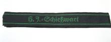 "This short (5"" long) cuff title, H. J. = Schiesswart, (Marksmanship Warden) is machine woven in green on a black band."
