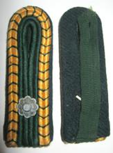 WW2 German Prison Administration 'Strafvollzug' NCO shoulder boards for the rank of Strafvollzugsdienst Hilfsaufseher, circa 1942-45. Slip-on style, shows light wear and age. Pair.