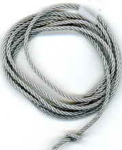 WW2 German Luftwaffe 3-Strand Twisted Cord Aluminum Piping, 2 mm diameter, 12 inch length. Old wartime stock, may show light oxidation.