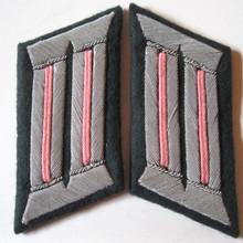 WW2 German Army Panzer Anti-tank Officers Collar Tabs, Pair. Bullion chapels with salmon pink soutache waffenfarbe on dark blue green badge cloth.