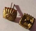 WW2 German Officers Glass Shoulder Board Rank 'Pips', 16mm, Gold, Pair (Detail)