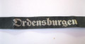 "These were worn by staff at one of the ""Order Castles"", either at Krössinsee, Sonthofen, Vogelsang or Marienburg. This is the machine woven (BeVo) version in black with silver script used during 1937. It measures 15.5"" long (39.5cm). Excellent and scarce!"