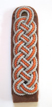 WW2 German Postschutz (Postal Police) Standartenführer Shoulder Board. Similar to a 1939, second-pattern, sew-on Sturmabteilung field grade officer's shoulder board worn by the ranks of Sturmbannführer to Standartenführer from 1940-1945. This board is made in the colors used by the Postschutz after 1940.