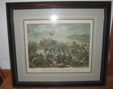 A very rare Colored Lithograph, based on a painting by Walery Eliasz-Radzikowski (1841-1905) Published 1894 on the centenary of the 1794 Battle of Raclawice, Catholic Bookstore, Poznan. Dimensions: Image 24 X 17.5 in. / Frame 32 x 27 in. Professionally cleaned, deacidified and framed by a professional conservator using archival materials, 1994